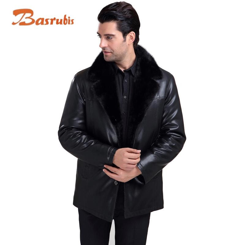 Online Cheap 2015 Men Jacket Brand Fur Lined Leather Men Mink Fur ...