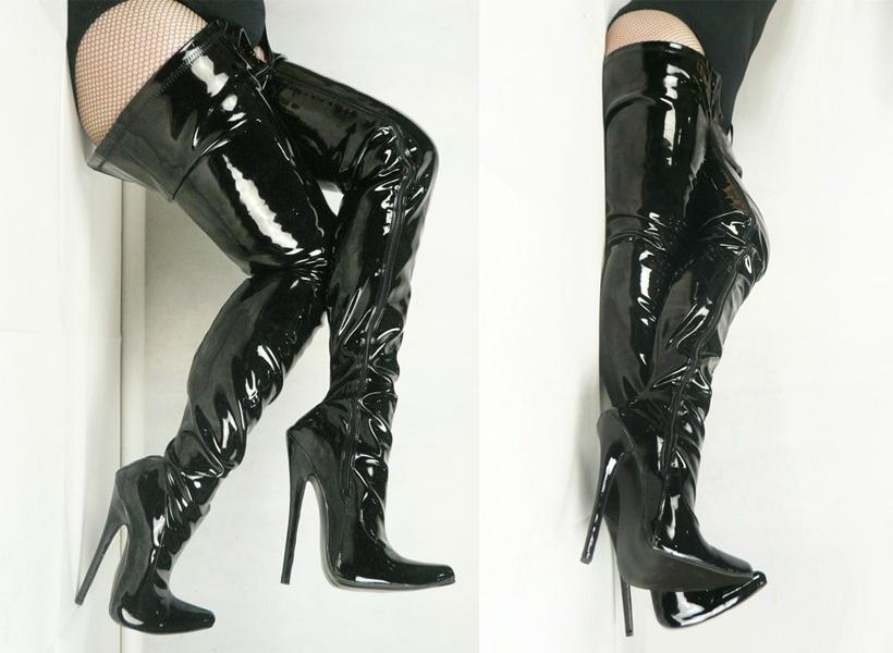 핫 세일 섹시한 지적 발가락 18cm 스파이크 하이힐 허벅지 높은 여성을위한 엉덩이 블랙 특허 PU 가죽 부츠 COS 무대 쇼