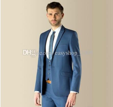 New Style Slim Fit Blue Groom Tuxedos Best Man Peak Lapel Groomsman Men Wedding Suits Bridegroom Jacket+Pants+Vest+Tie