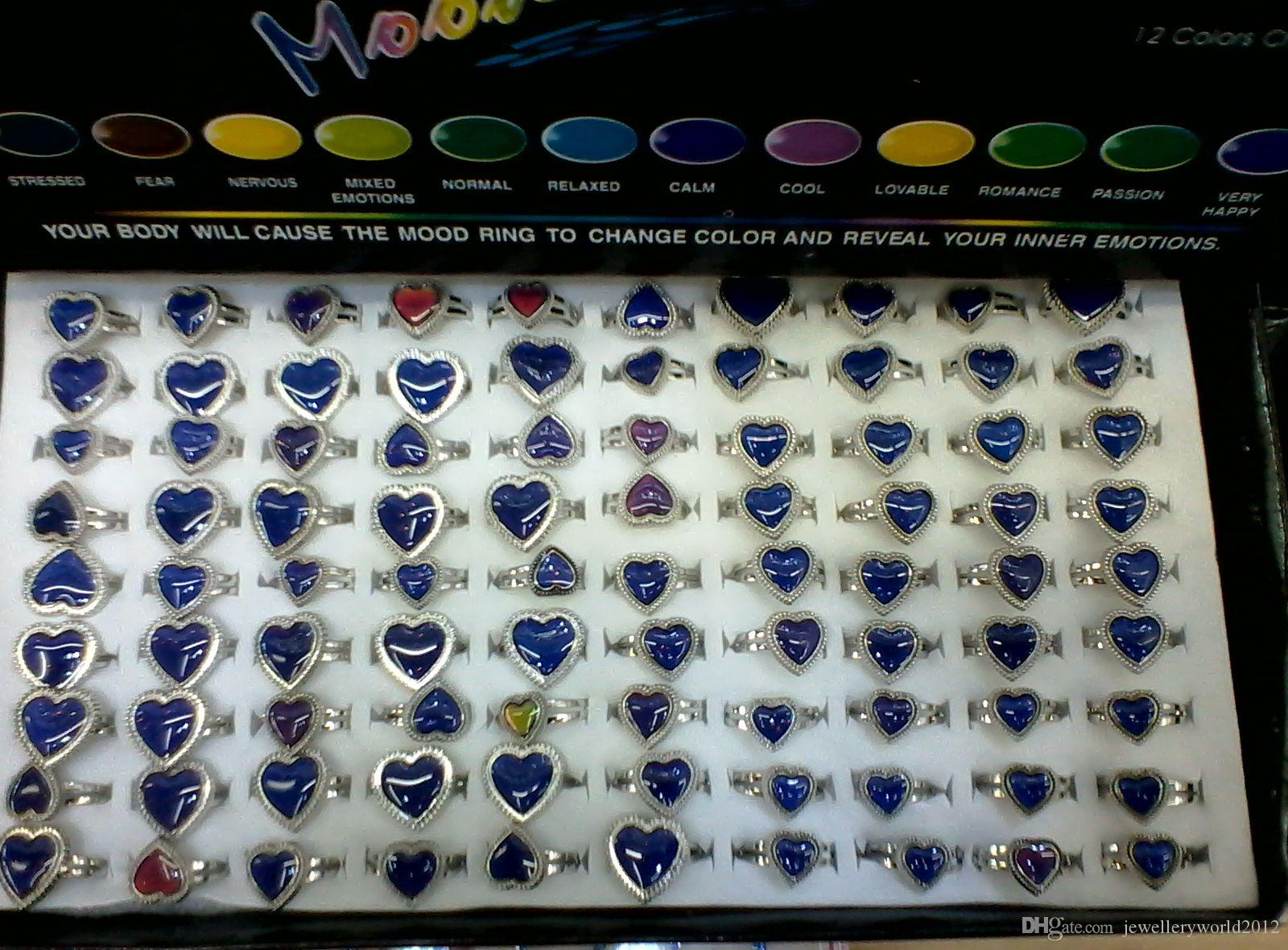 Heart mood rings love mood ring changes color to the temperature of your blood mix large heart medium heart small heart 100pcs