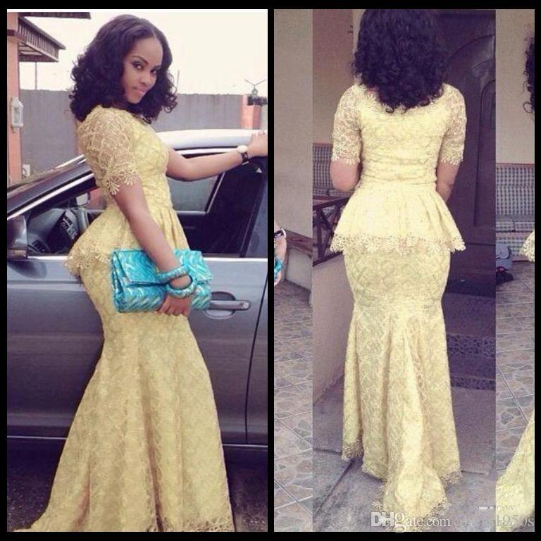 African Evening Gown Fashion Vestido Longo O Neck Short Sleeve Mermaid Long Prom Dresses Yellow Lace Elegant Nigeria Style Formal Dress