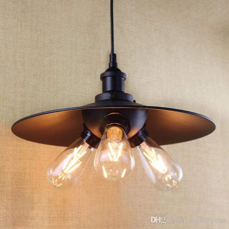 Винтажная подвесная лампа Железный абажур черный 3 головки E27 фитинг edison люстра промышленный стиль :Гостиная столовая ресторан бары свет