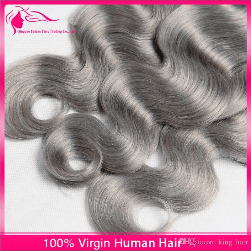 Nova Chegada 4 Pçs / lote Prata Cinza Ombre Extensões de Cabelo # 1B / Cinza Onda Do Corpo 9A Brasileira Virgem Do Cabelo Humano Tece Ombre Feixes de cabelo
