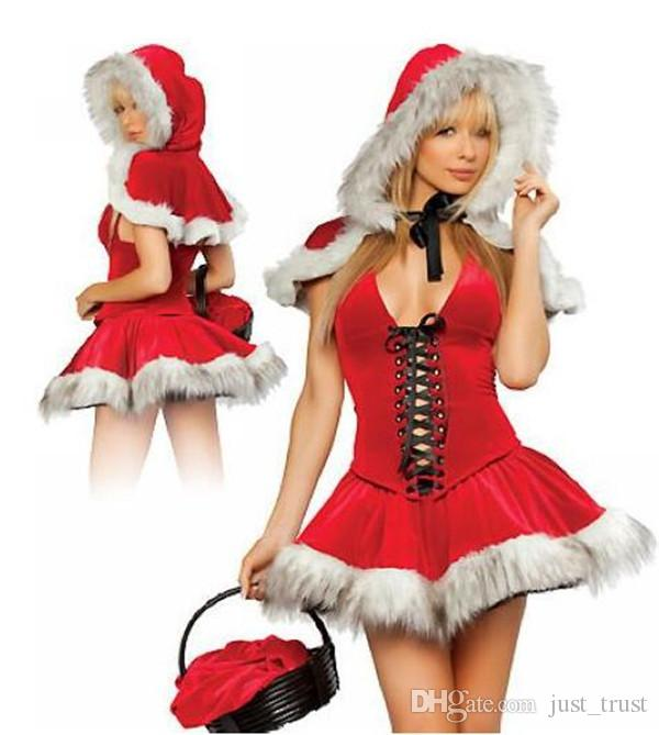 Hot sales Christmas cosplay Queen Dress up Christmas clothing multi red Little Red Riding Hood princess dress sexy party Roleply uniforms