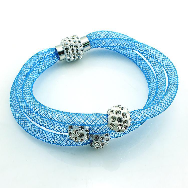 Mix Satış Moda Bağlantı Bilezikler Kristal Mesh Manyetik Toka Çok Katmanlı Zincir Rhinestone Boncuk Bileklik Bilezik Takı