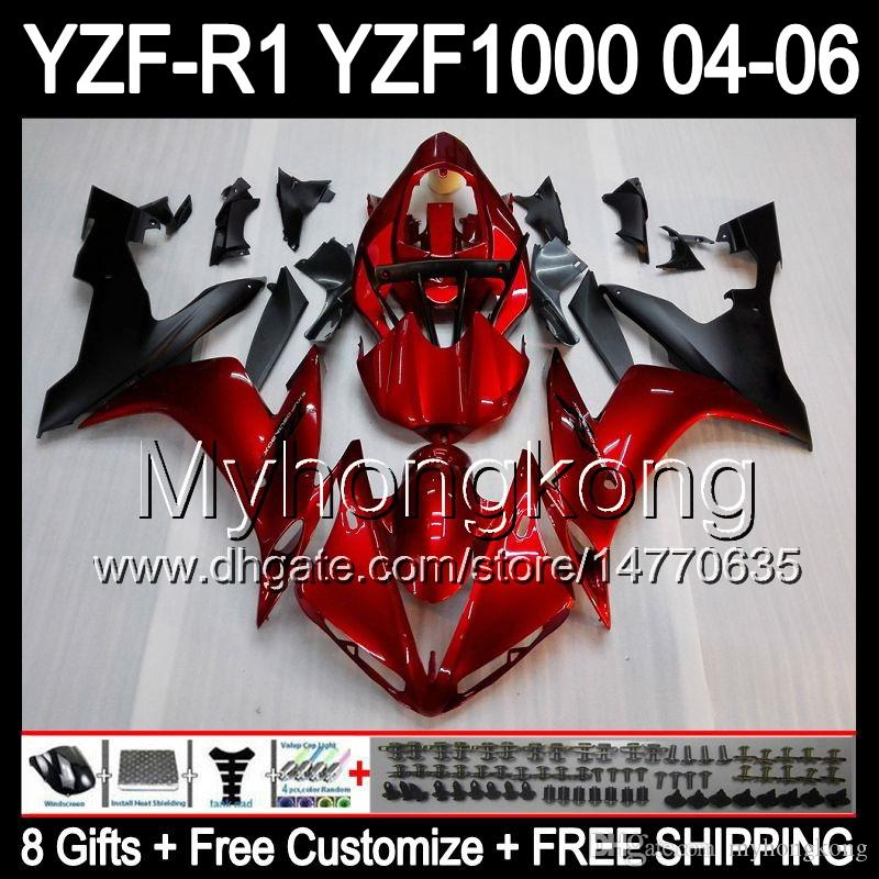 8Gifts+ Body For YAMAHA YZF-R1 04-06 GLossy red YZF R1 MY45 YZF1000 YZFR1 04 05 05 06 YZF 1000 Dark red blk YZF R 1 2004 2006 Fairing Kit