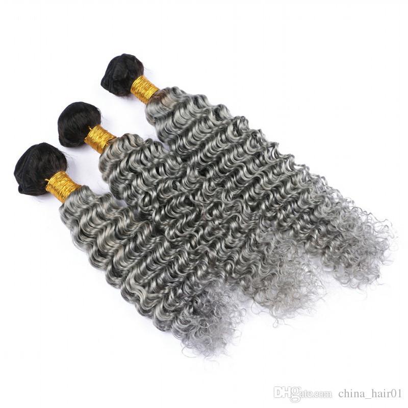 Koyu Kök 1B / Gri Ombre Brezilyalı İnsan Saç Örgüleri 3 Adet Derin Dalga Dalgalı Gümüş Gri Ombre Virgin İnsan Saç Demetleri Çift ...