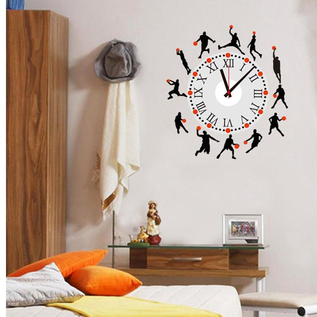 Basketball Player Sports Decorative Wall Clock Sticker Home - Wall decals clock
