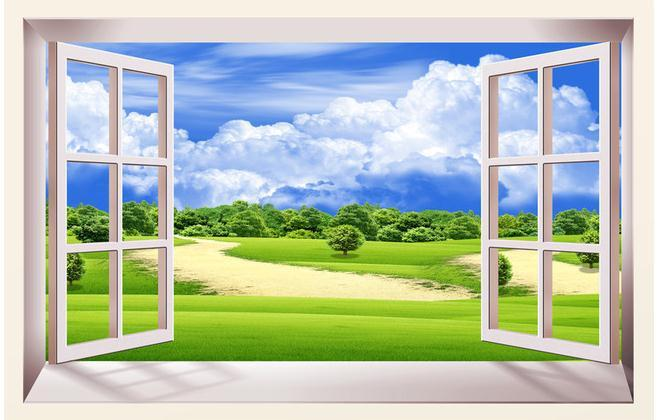 Wall Paper 3d Window Blue Sky Non Woven Wallpaper Mural Stickers Papel De Parede Wallpapers20152295 Hd