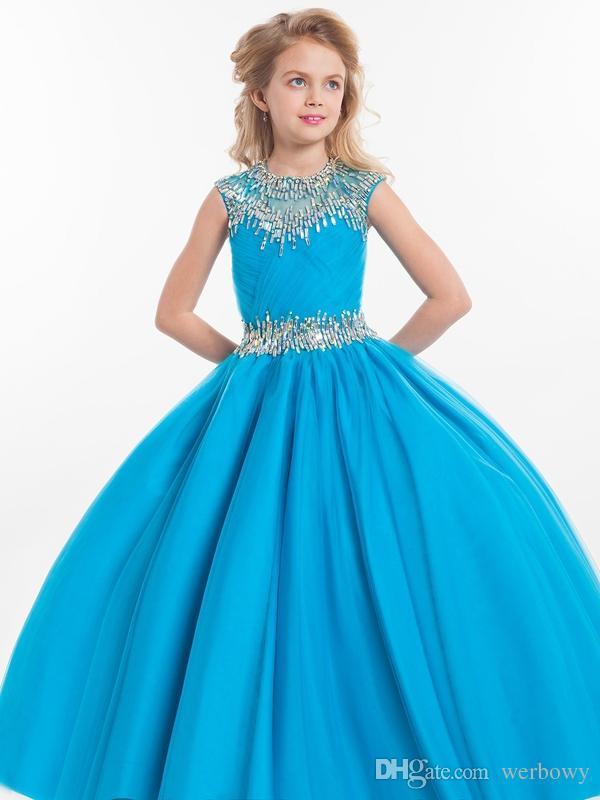 2019 Rachel Allan Girls Pageant Dresses For Teens Illusion Neck Cap Sleeve Crystal Beades Rosa Lungo Party Kids Flower Girl Gown HY1138
