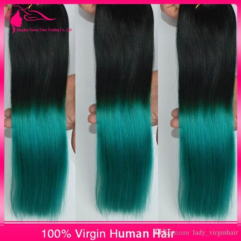Extensiones de cabello 1B / verde Ombre Tramas de cabello negro a verde Paquetes de tejido de cabello humano 3 piezas Lote Ombre brasileño sedoso Pelo recto de dos tonos