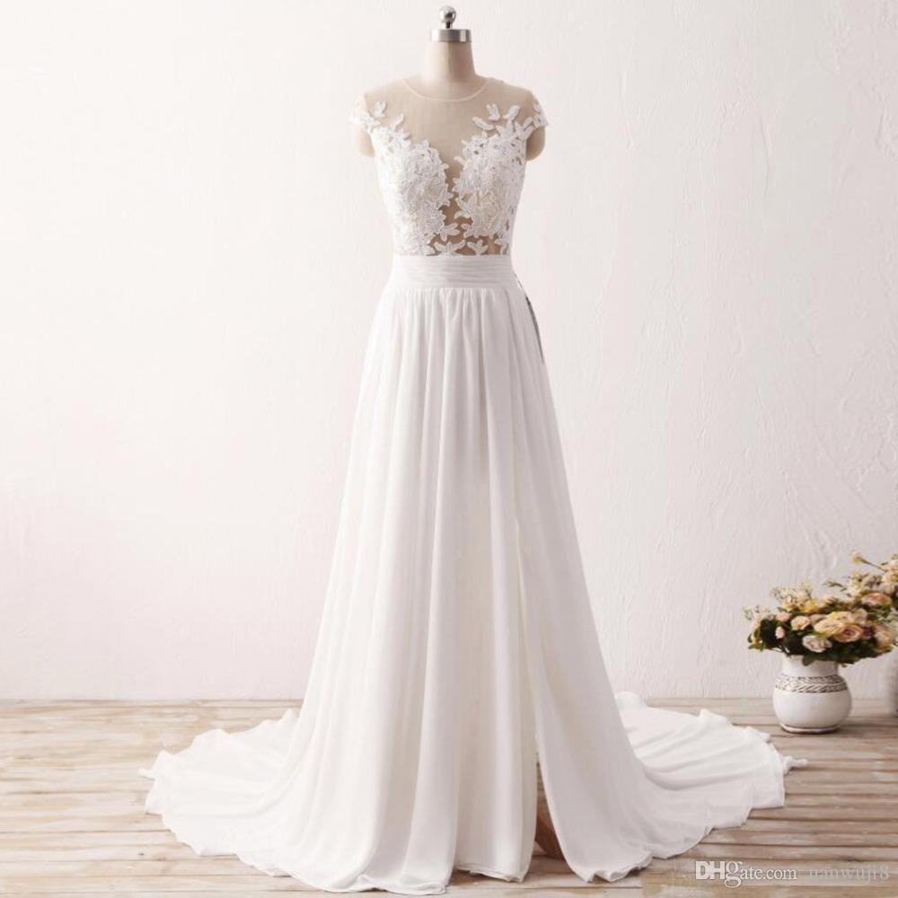 Großhandel Vestido De Noiva Chiffon Günstige Brautkleid Mit Delicate ...