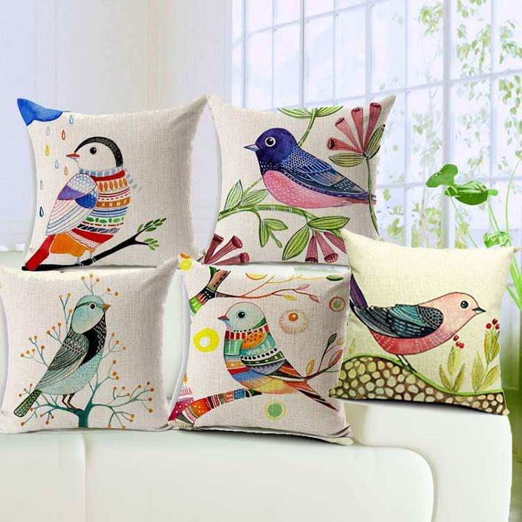 Creative Bird And Tree Cushion Cover Linen Cotton Pillow ...