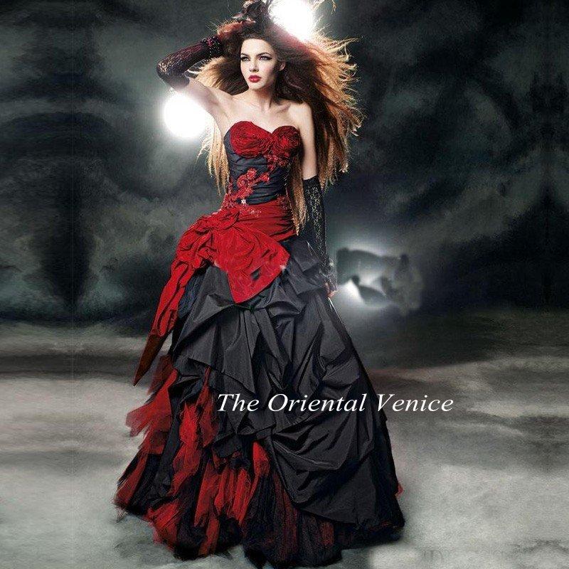 2016 Gothic Taffeta Red And Black Ball Gown Wedding Dresses Floor Length Corset Vestidos De Novia Beaded Victorian Bridal Gowns