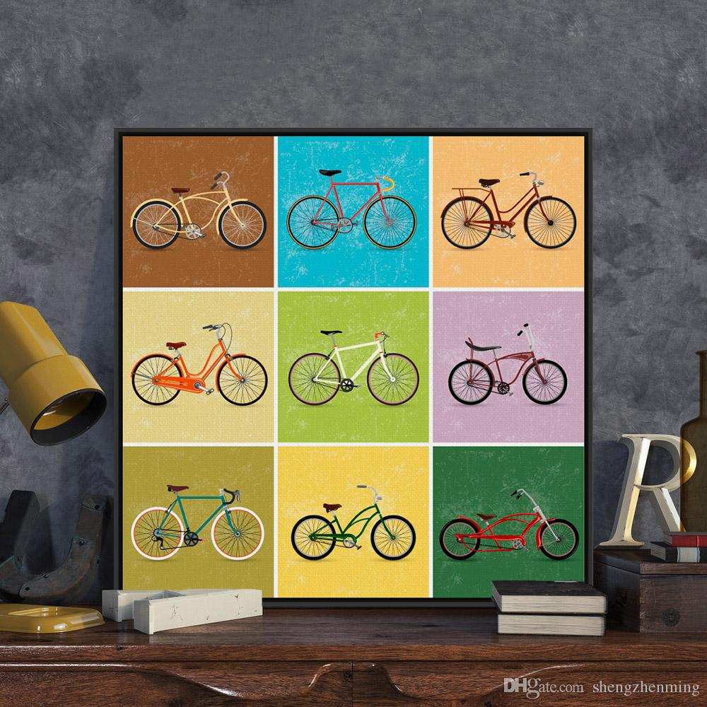Modern Minimalist Travel Vintage Retro Bike Bicycle A4 Art Print ...