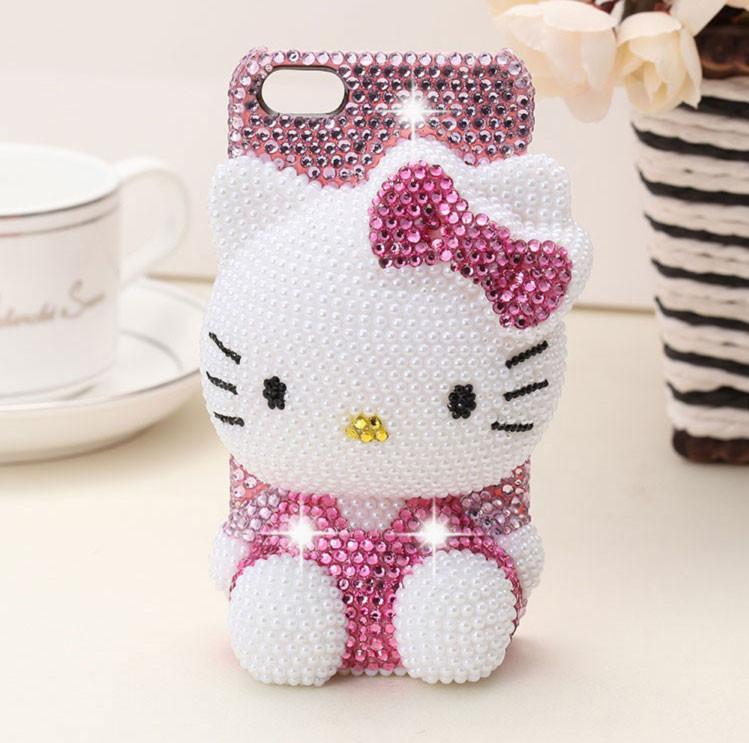 free shipping 14b43 4660f Girl Handmade Rhinestone hello kitty shape phone Case Cover for Iphone 4 4s  5 5s 5c 6 6plus Diamond Mobile phone Protective Shell gift