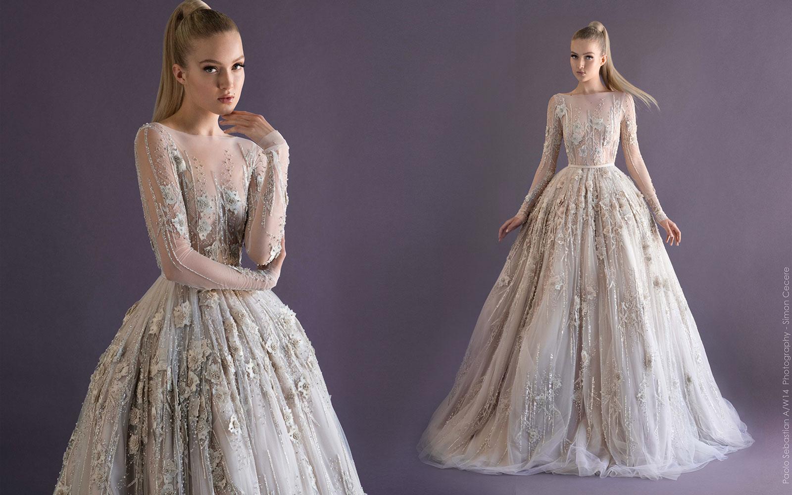 2014 Paolo Sebastian Ball Gown Wedding Dresses Sheer Bateau Long ...