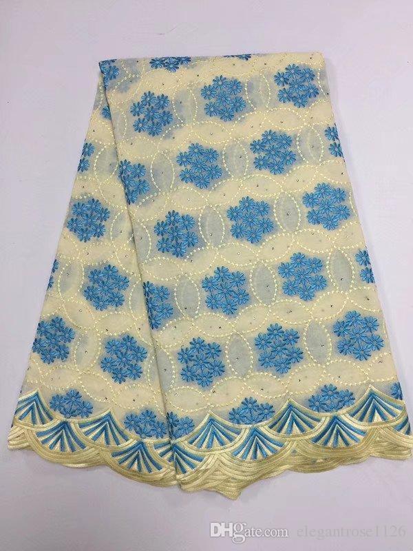 Синий желтый цвет последний африканский хлопок швейцарский вуаль кружева ткань высокого качества Африканский швейцарский вуаль кружева в Швейцарии GYCL049