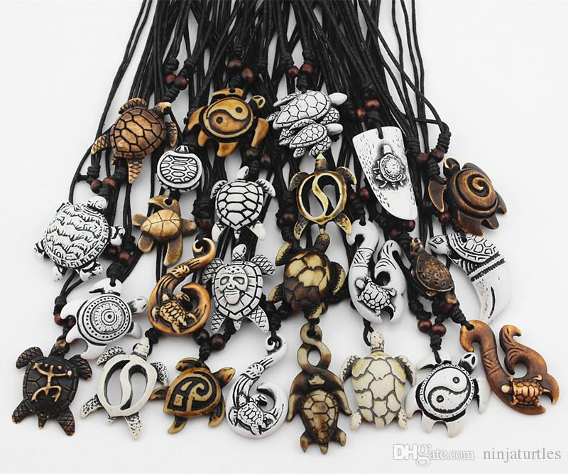MIXED Jewelry Wholesale Imitation Yak Bone Carved Lucky Surfing Sea Turtles Pendants Necklace MN386