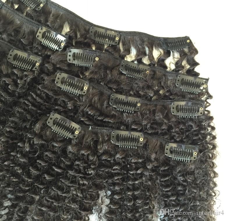 Clips Remy de cabello brasileño 100% de Interlovehair en extensiones de cabello humano 6 unids / set Cabeza completa Natural Negro afro rizado rizado