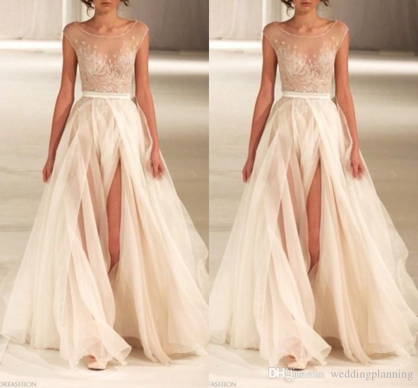 Split Side A-Line Abendkleider Crew Sleeveless Sash Einfache Design Lange Backless Formale Sexy Abendkleider Günstige Red Carpet Celebrity Dress