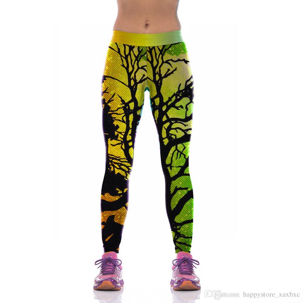 ffc653363b1 2017 New KYK1039 Fashion Halloween Dead Tree Night Sky Prints Sexy Girl  Pencil Yoga Pants GYM Fitness Workout High Waist Women Leggings Women  Leggings ...