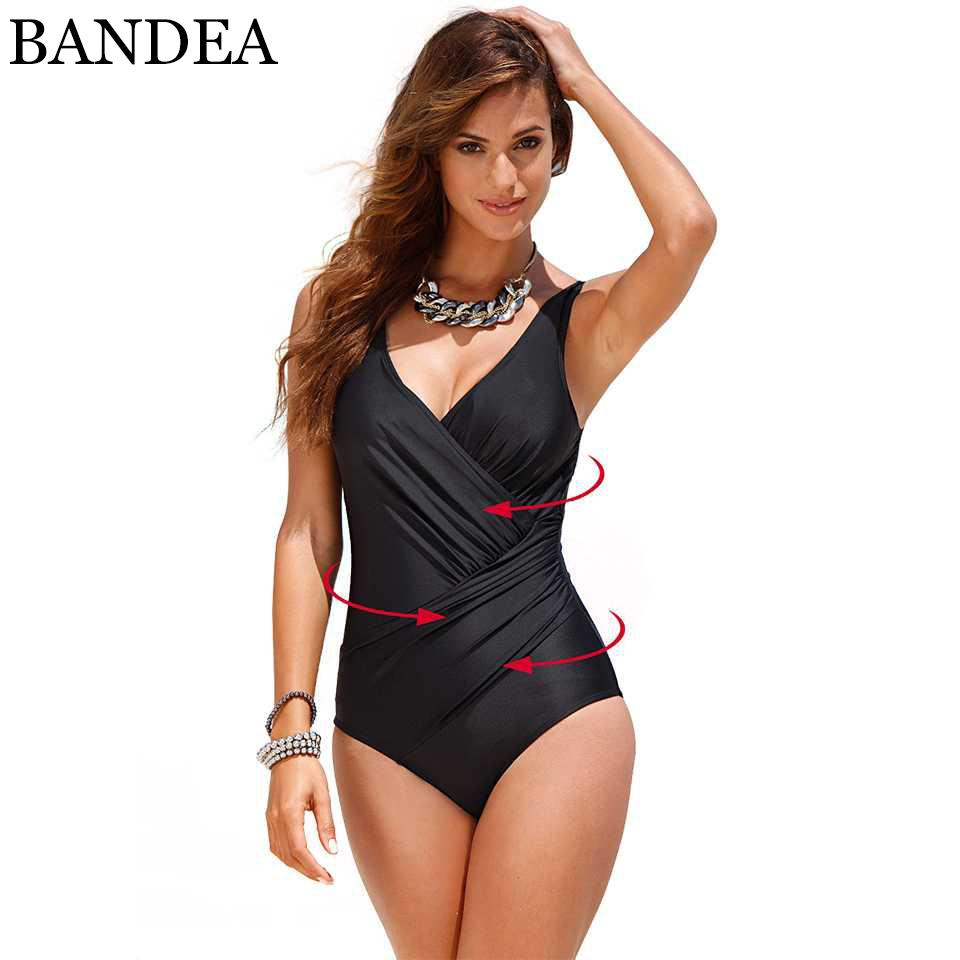 6c508e2152 Wholesale- BANDEA Sexy One Piece Swimwear Slimming Retro Swimsuit ...