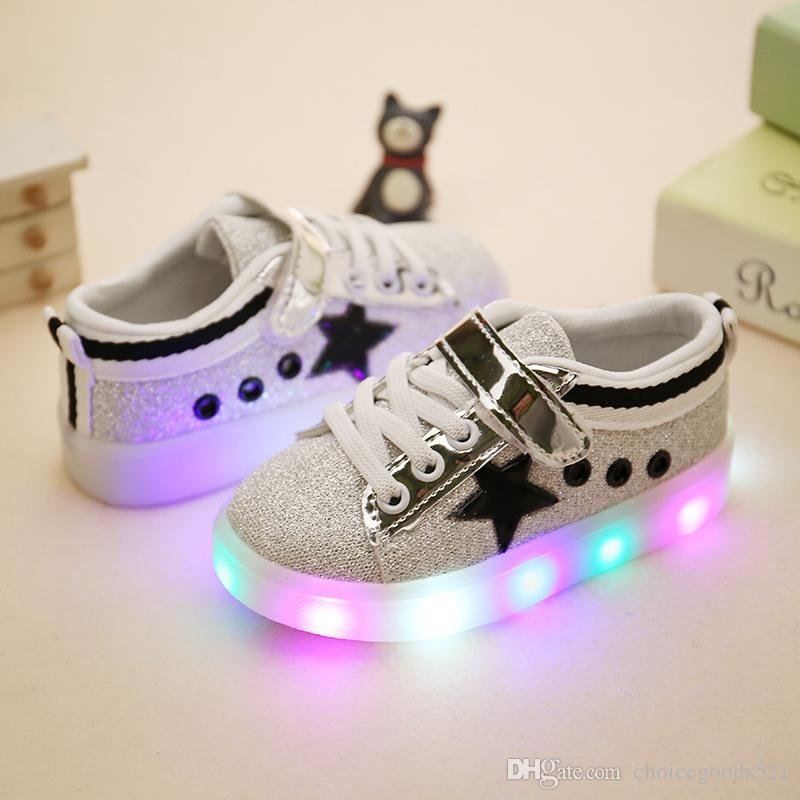 d4c70b5d5be Kids Shoes Girl Boys LED Shoes Les Lighting Star Casual Star Sneaker  Luminous Athletic Flat Shoes Online Shoes For Girls Cheap Toddler Boy Shoes  From ...