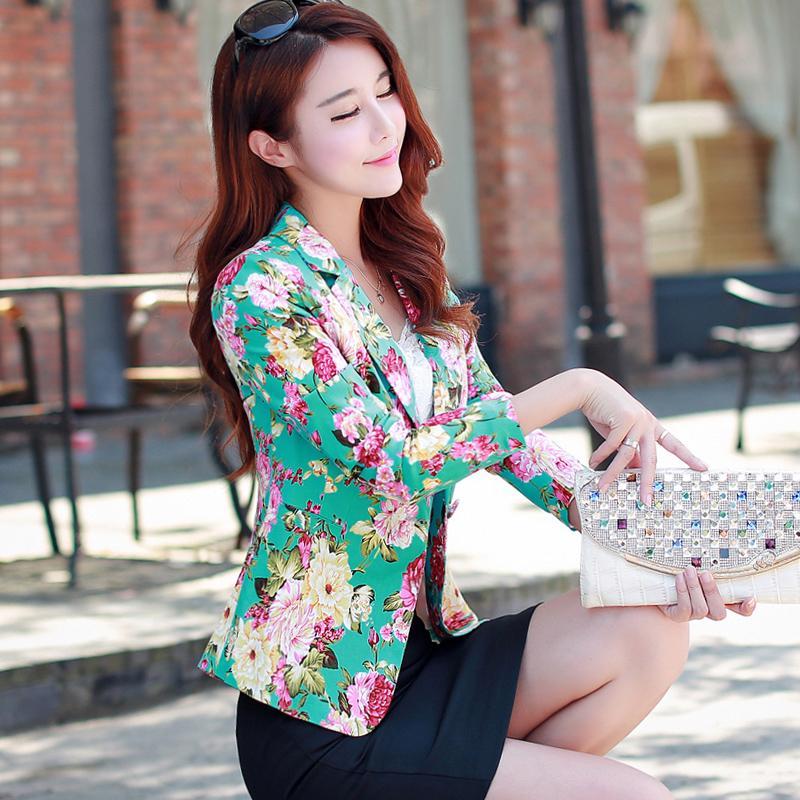 Abito donna corto temperamento corto 2018 Primavera moda fiori stampa piccoli abiti da donna giacca e blazer giacca da donna
