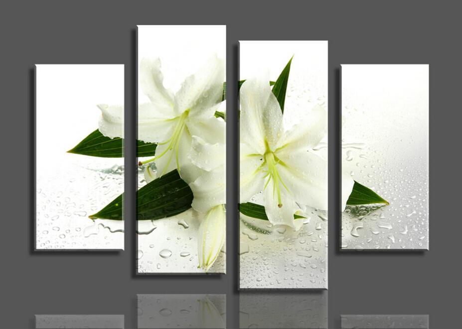 Moderno pintado a mano 4 paneles de flores blancas pintura al óleo de la pared de arte de la pared imagen decoración del hogar
