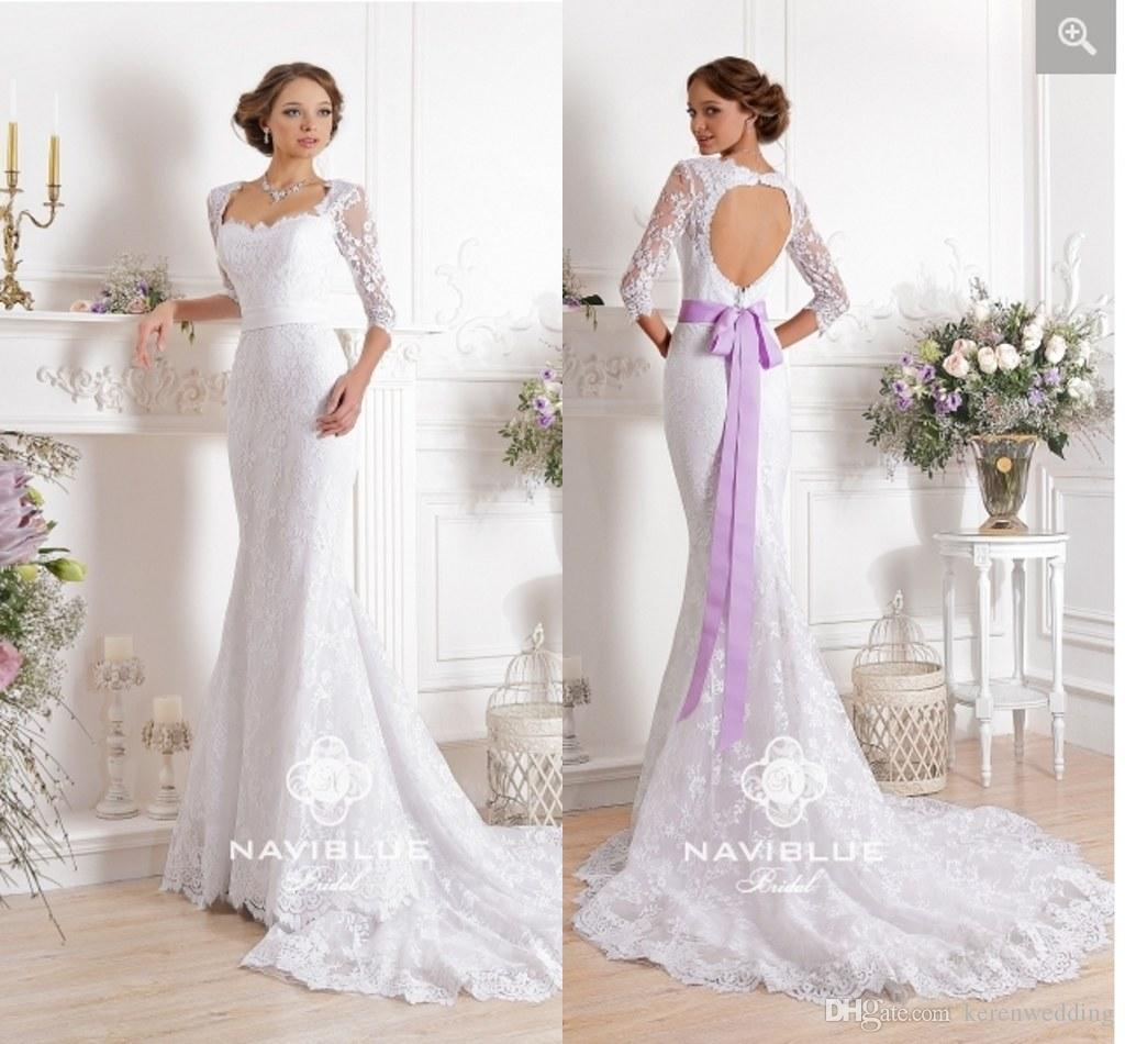34 long sleeves backless wedding dresses with sash lavender ruched 34 long sleeves backless wedding dresses with sash lavender ruched appliqued tulle court train sheer lace square neck bridal gowns cgl528 ball gowns junglespirit Images