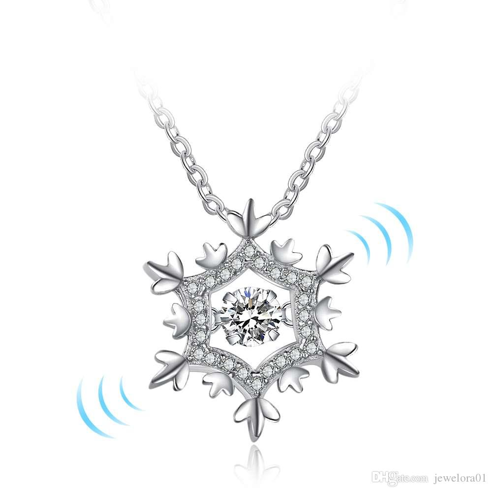 Wholesale snowflake design rotatable dancing diamonds 925 sterling wholesale snowflake design rotatable dancing diamonds 925 sterling silver pendants necklaces charm cz stones jewelry for women amber pendant necklace unique aloadofball Image collections