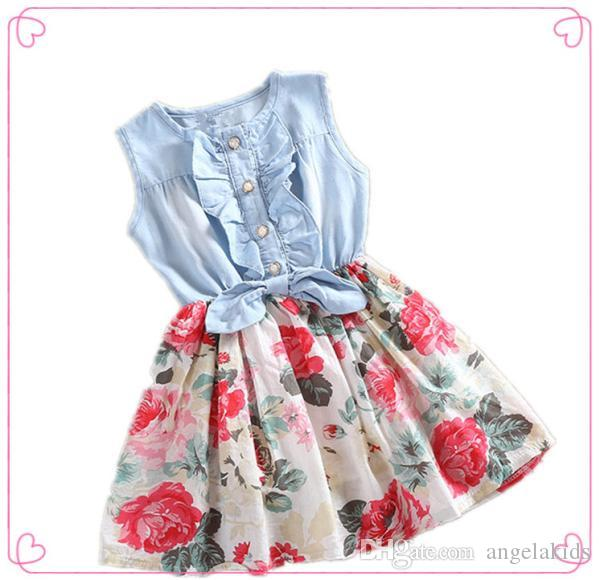 f2ec24cfd 2019 Kids Girl Summer Dress Sleeveless Bowknot Denim Shirt Stitching ...
