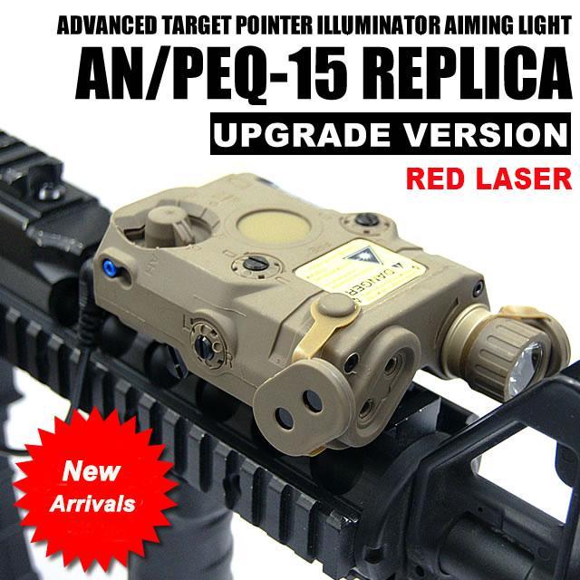 التكتيكية AN / PEQ-15 الليزر الأحمر مع الأبيض مضيا الشعلة إضاءة الأشعة تحت الحمراء للصيد في الهواء الطلق أسود / الظلام الأرض