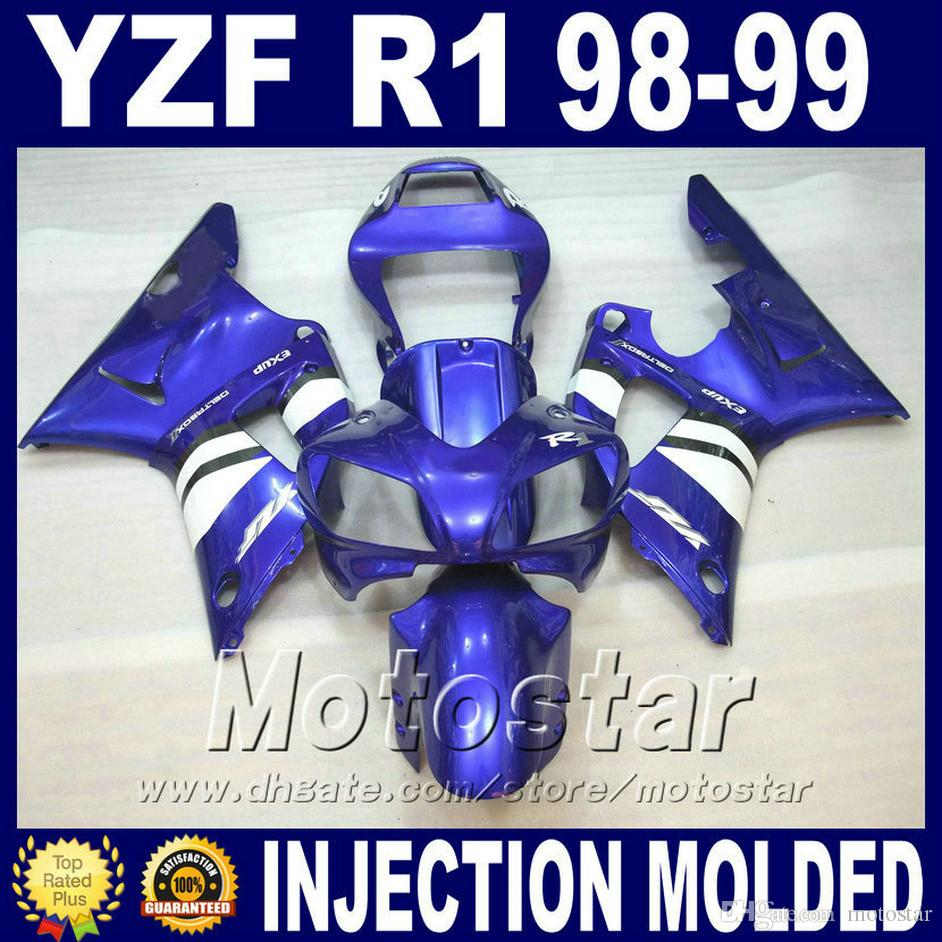 Injection Mold for 1998 1999 YAMAHA R1 fairing kits blue white 98 99 yzf r1 fairings yzfr1 body kit cheap price+7 gifts