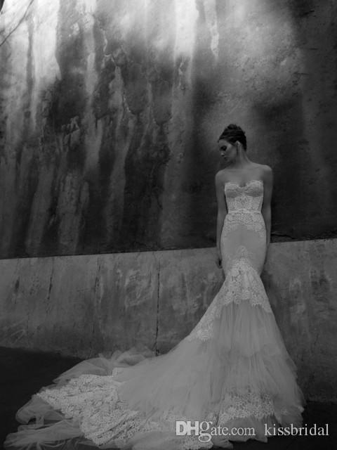 inbal dror 가을 겨울 흰색 레이스 인어 웨딩 드레스와 연인 슬림 코르셋 Bodice 얇은 명주 그물 트림 된 대성당 기차 신부 가운
