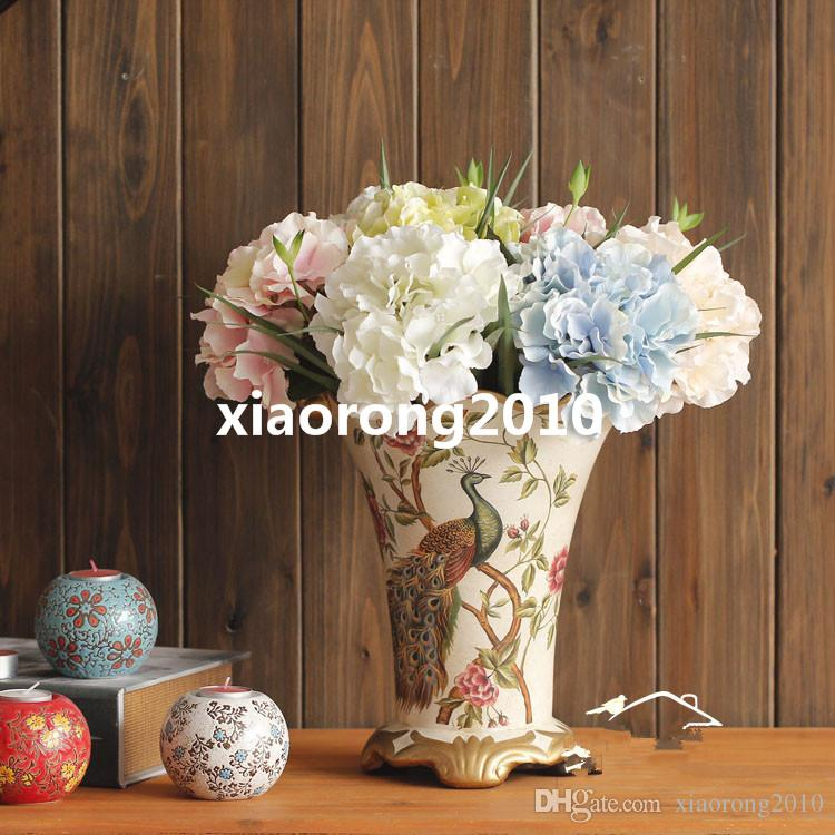 Europejskie Jedwabne Kwiaty Hortensji Sztuczne Pojedyncze Hortensje Dla Wedding Party Festival Home Dekoracyjne Kwiaty