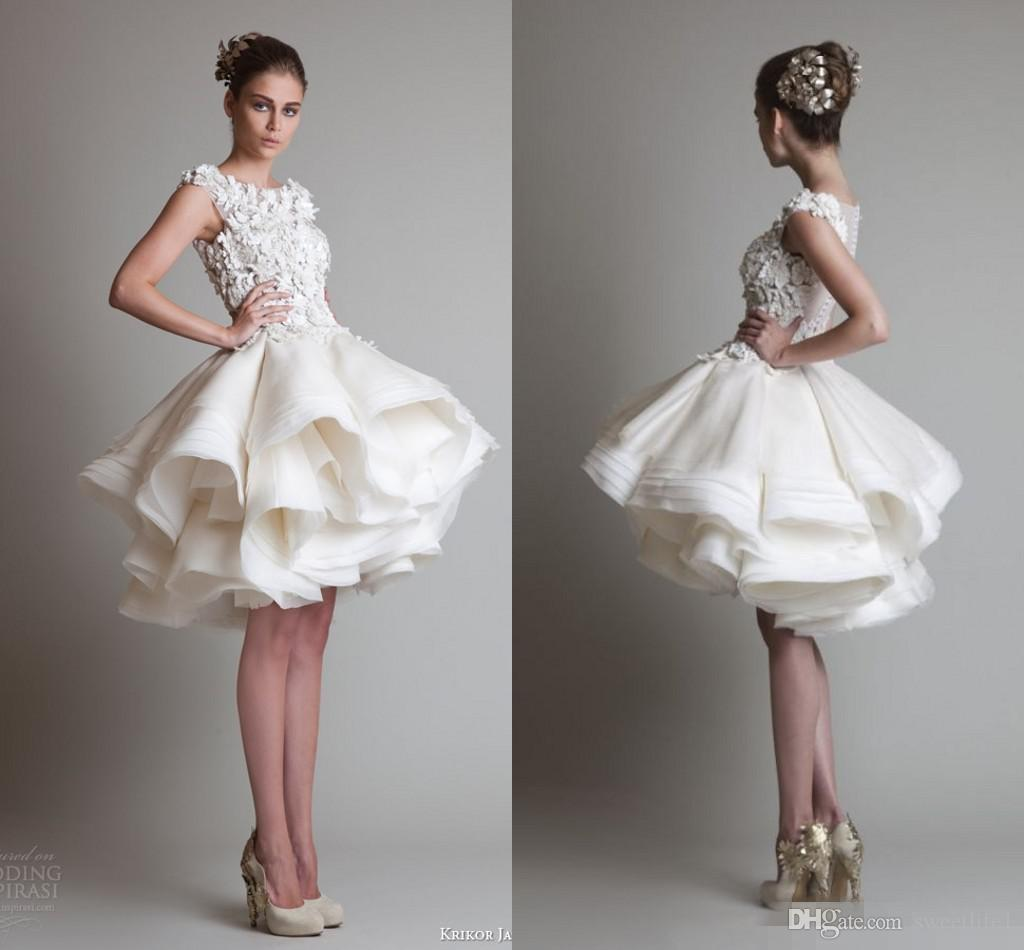Discount Krikor Jabotian Short Lace Wedding Dresses 2017 Ivory Bateau Cap Sleeves Backless Knee Length A Line Organza In Dress