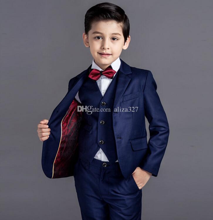 Moda nuovo ragazzino abiti di colore puro ragazzo adatta occasione formale ragazzi vestiti la vendita calda di nozze giacca + pantaloni + gilet