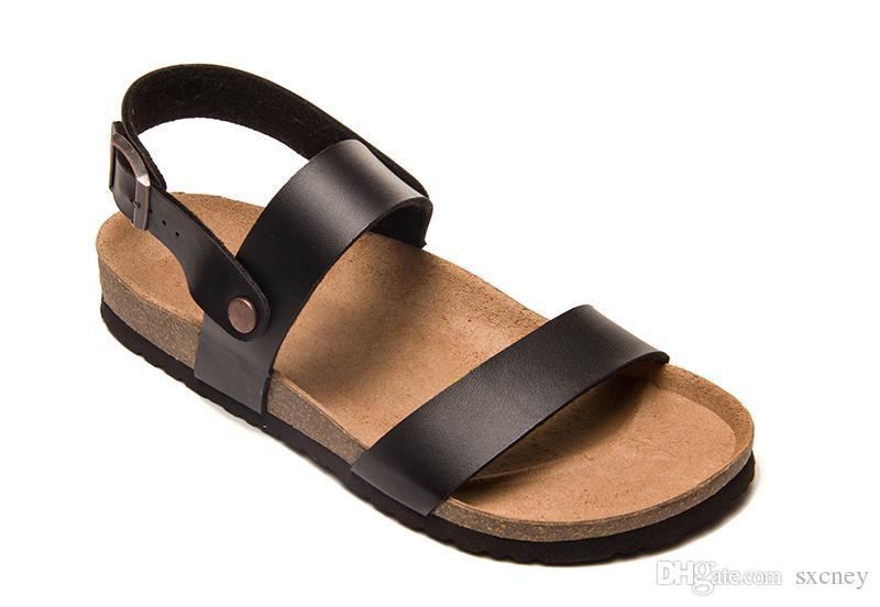 Taille: 36-46 Fashion Designer liège Sandales Nouveau homme et femme Casual en cuir véritable pantoufles été noir blanc rouge marron plage chaussures