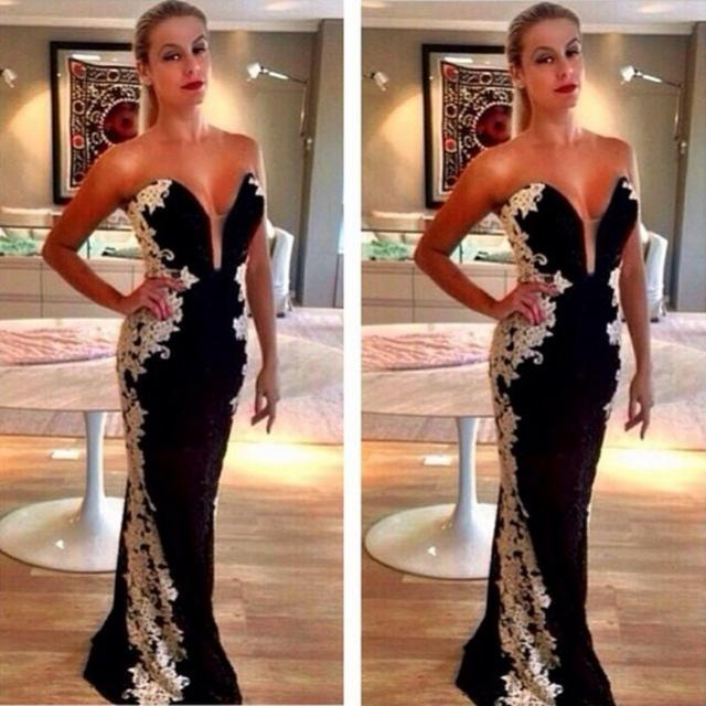 2016 Sexy Sweetheart Black Evening Dresses with White Appliques Satin Floor Length Prom Party Pageant Celebrity Gowns BA1348 Robe de soriee