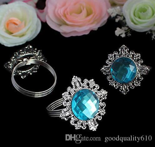 Round Blue Crystal Napkin Ring Napkin ring Serviette Buckle Holder Hotel Wedding Party Favour Decor