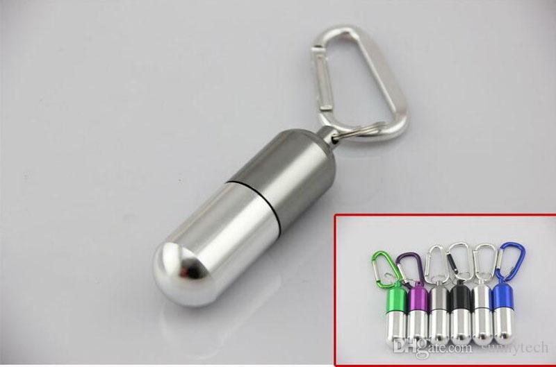 Portátil Mini Alumínio Pill Box Medicina Recipiente Titular Chaveiro Ao Ar Livre À Prova D 'Água Frete Grátis Atacado ZA5302