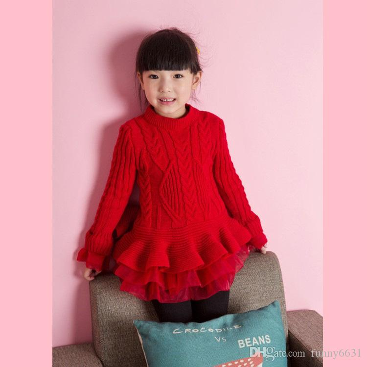 0eb3fc824 free shipping winter kids sweater dress pullover children's girls sweater  tutu dress round neck knitted sweater dress with lace shrugs girl