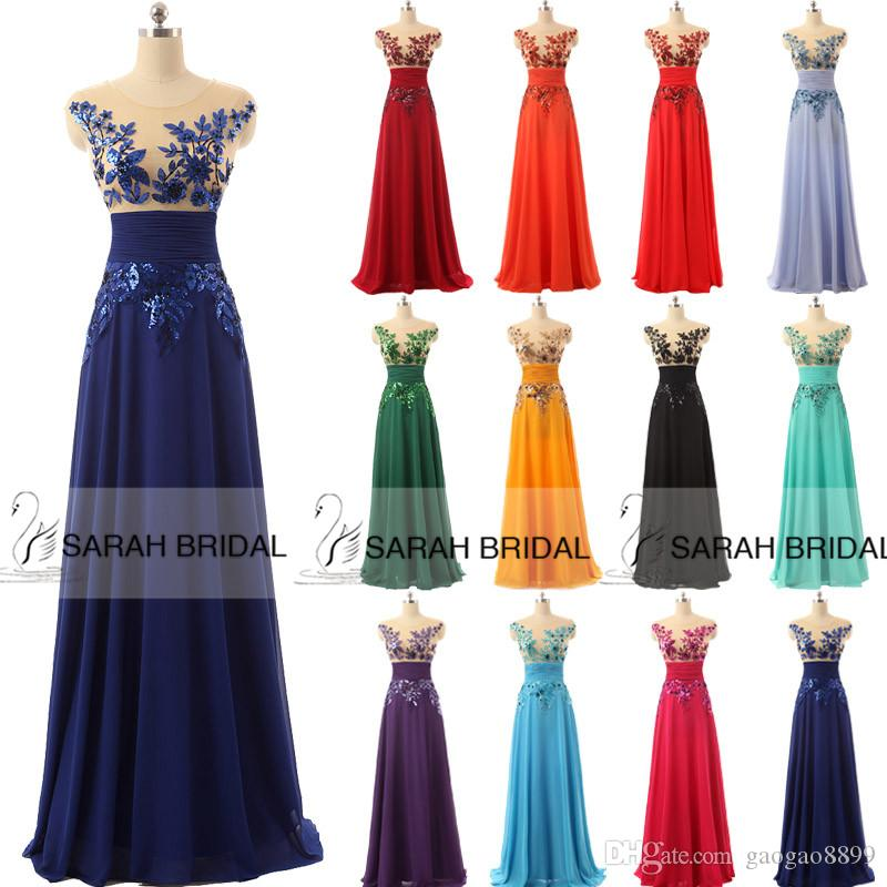 Cheap Sheer Neck Prom Party Dresses Sequins A line Royal Blue Burgundy Red Gold Green Real Image Long Bridesmaid Evening Gowns 2019 NR