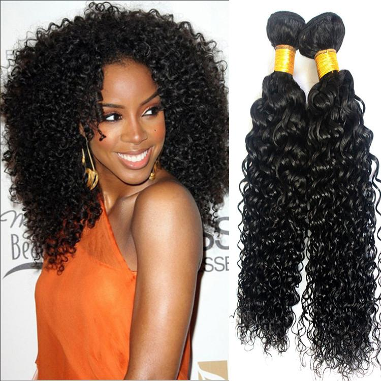 100 Human Hair Indian Remy Jerry Curly Bundlewet And Wavy