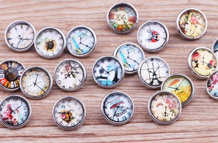 JACK88 Wholesale Mix Style Clock 12mm Mini Glass Snaps Ginger Snap Button Charm Fit Bracelet Jewelry Charm M697