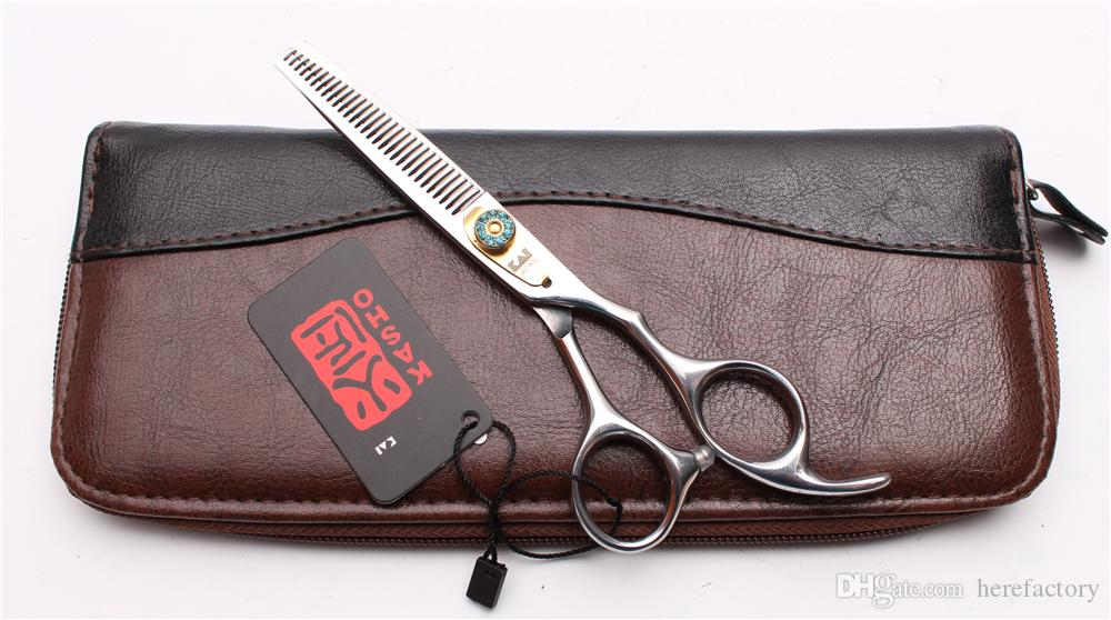 "6"" 17.5cm Japan 440C Kasho Professional Human Hair Scissors Barbers' Hairdressing Scissors Cutting Thinning Shears Salon Style Tools H1025"