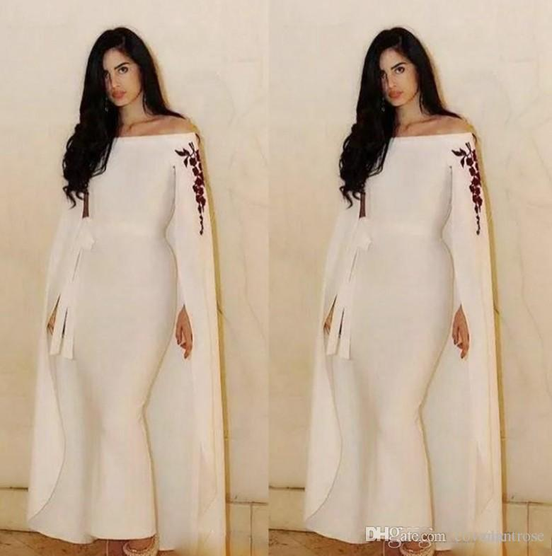 Formal Saudi Arabic Evening Dresses With Cape Wraps Mermaid Ankle Length  Prom Dress Custom Made Off The Shoulder Aso Ebi Party Gowns Stunning  Evening ... 12e5e3c8fe9d