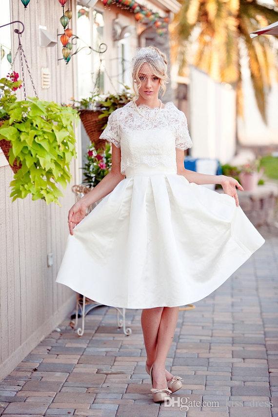 2019 خمر قصيرة فساتين الزفاف قصيرة الأكمام الكشكشة سكوب العنق التفتا خط الركبة طول الرباط أثواب الزفاف مخصص w034